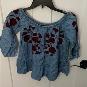 Denim off the shoulder shirt with red embroidered